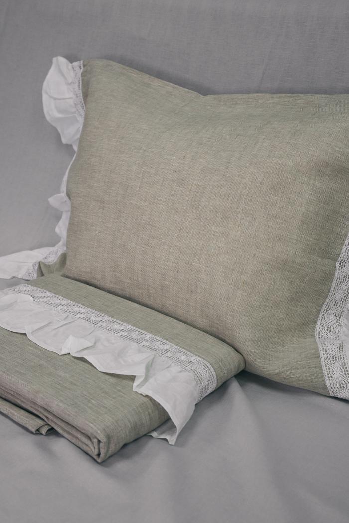 Комплект постельного белья лен 100 рустик евро фото 2
