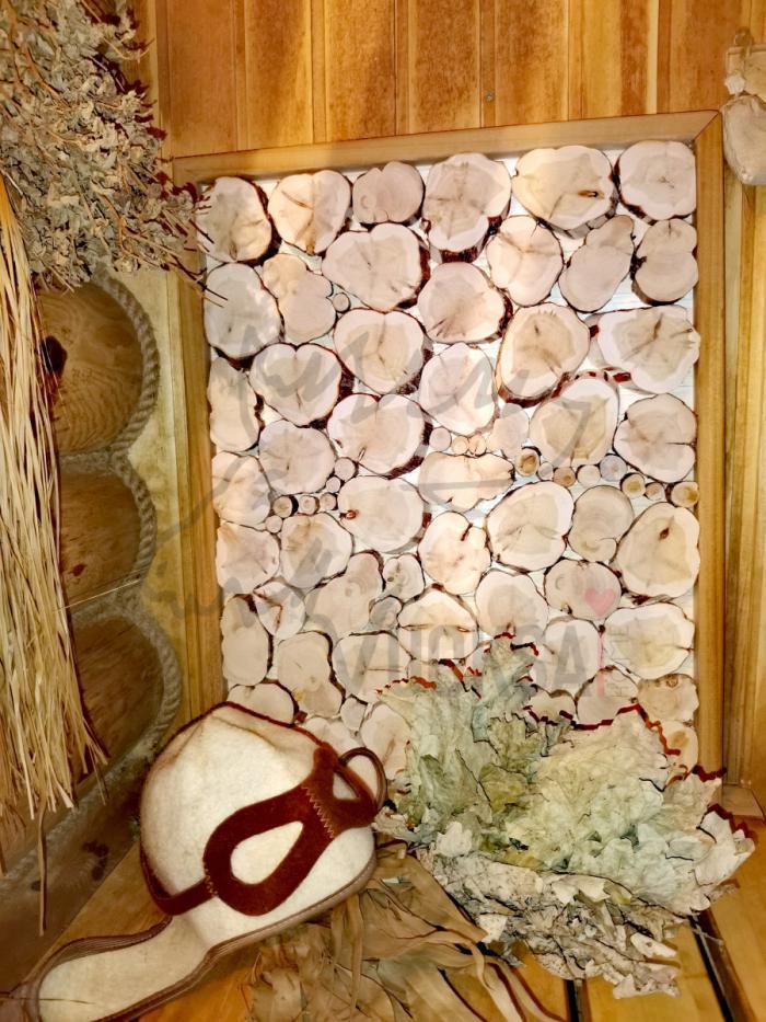 Панно из спилов можжевельника с обрамлением из абаша для бани фото 1>                   <span class=