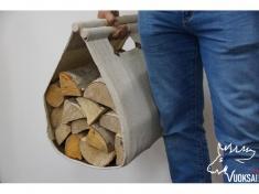 Переноска для дров  из льна с кожаной вставкой фото 1