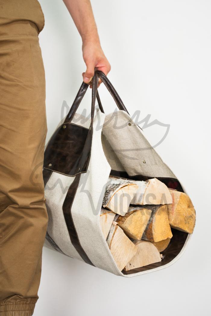 Переноска для дров  из льна с кожаной вставкой и ручками фото 1>                   <span class=