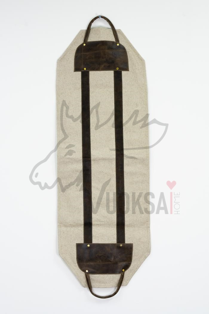 Переноска для дров  из льна с кожаной вставкой и ручками фото 2>                   <span class=