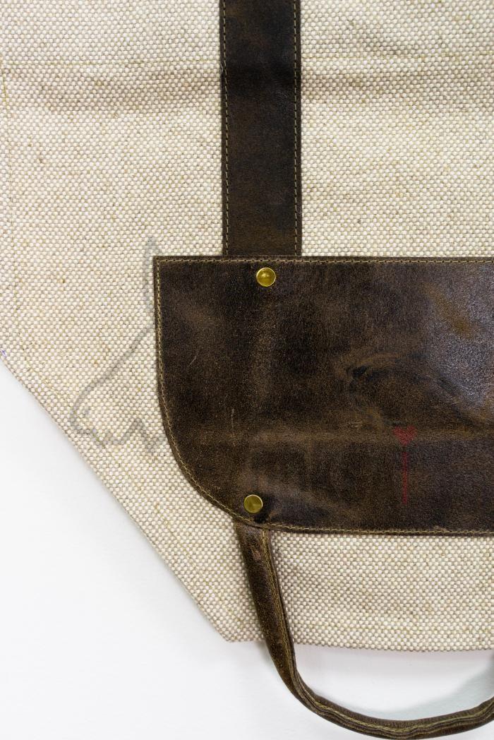 Переноска для дров  из льна с кожаной вставкой и ручками фото 3>                   <span class=