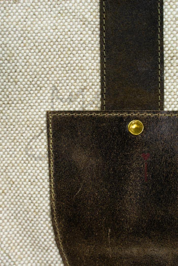 Переноска для дров  из льна с кожаной вставкой и ручками фото 4>                   <span class=