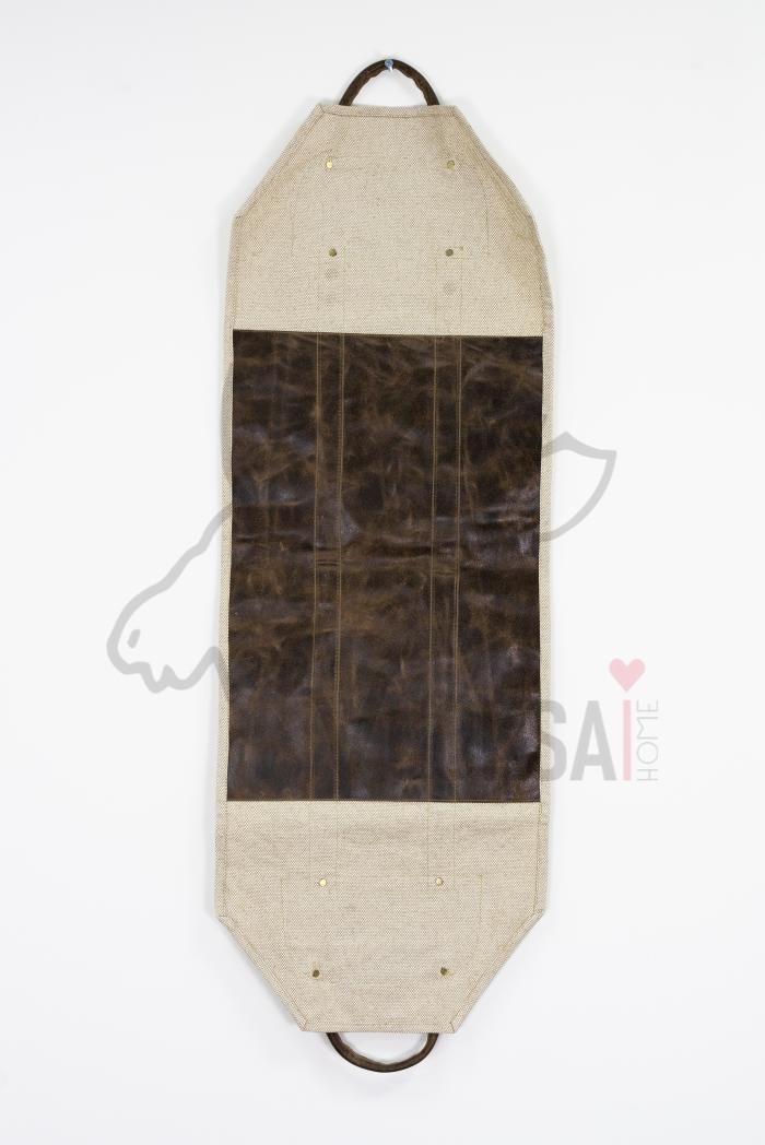 Переноска для дров  из льна с кожаной вставкой и ручками фото 5>                   <span class=