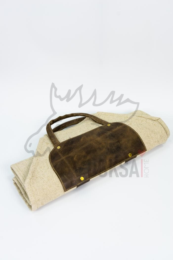 Переноска для дров  из льна с кожаной вставкой и ручками фото 6>                   <span class=