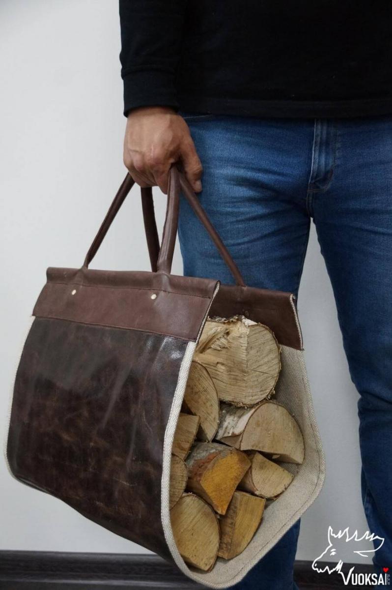 Переноска для дров  из натуральной кожи с подкладкой из льна фото 1>                   <span class=