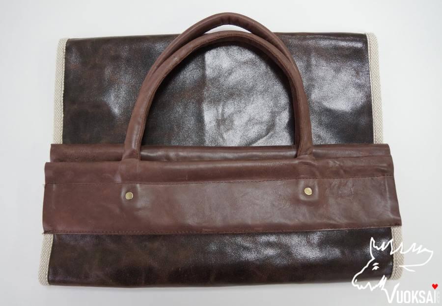 Переноска для дров  из натуральной кожи с подкладкой из льна фото 2>                   <span class=