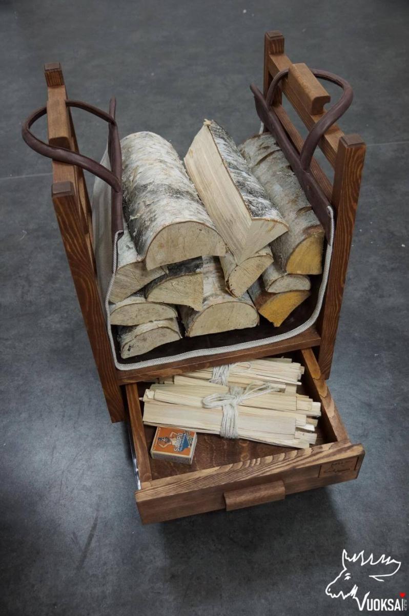 Переноска для дров  из натуральной кожи с подкладкой из льна фото 3>                   <span class=