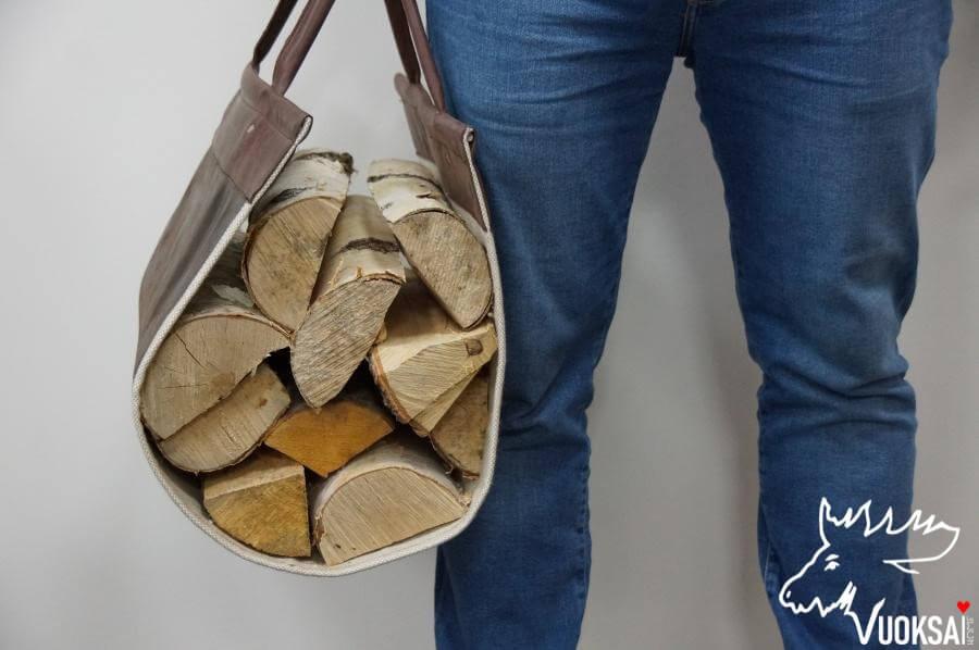 Переноска для дров  из натуральной кожи с подкладкой из льна фото 4>                   <span class=