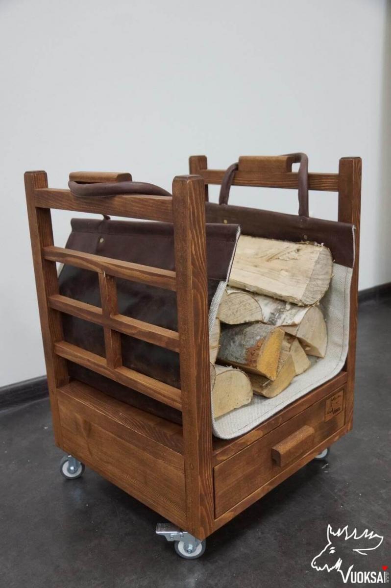 Переноска для дров  из натуральной кожи с подкладкой из льна фото 5>                   <span class=