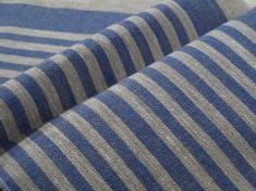 Ткань декоративная лен 100 серо синяя полоска фото 1