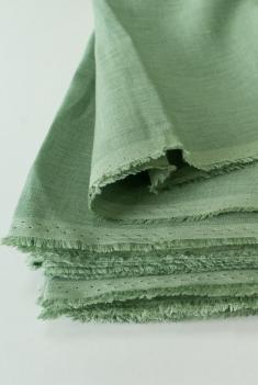 Ткань для постельного белья лен 100 малахит фото 1