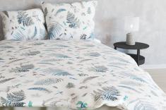 Ткань для постельного белья лен 100 папоротник фото 1