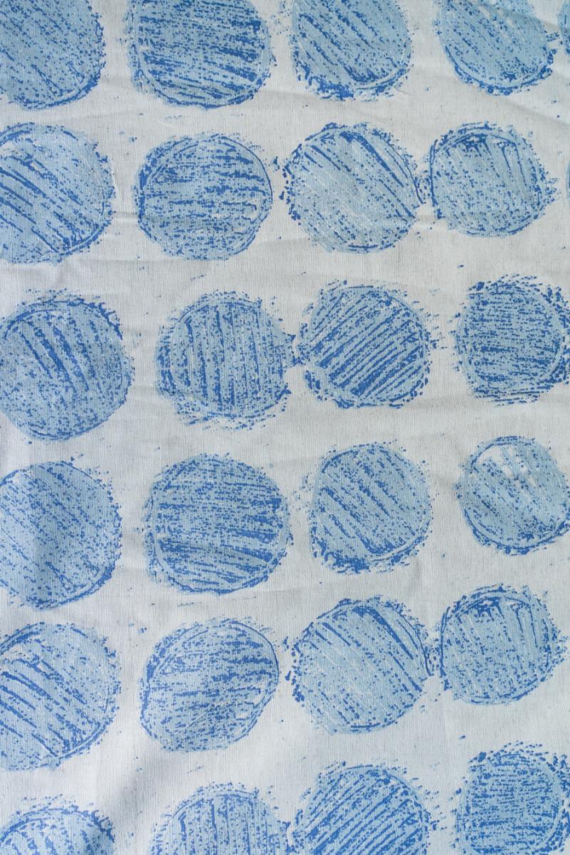 Ткань декоративная п лен круги синие на вареном фото 2>                   <span class=