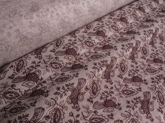 Ткань для постельного белья п лен птицы коричневые фото 1>                   <span class=