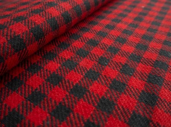 Ткань костюмная лен 100 клетка на красном фото 1>                   <span class=
