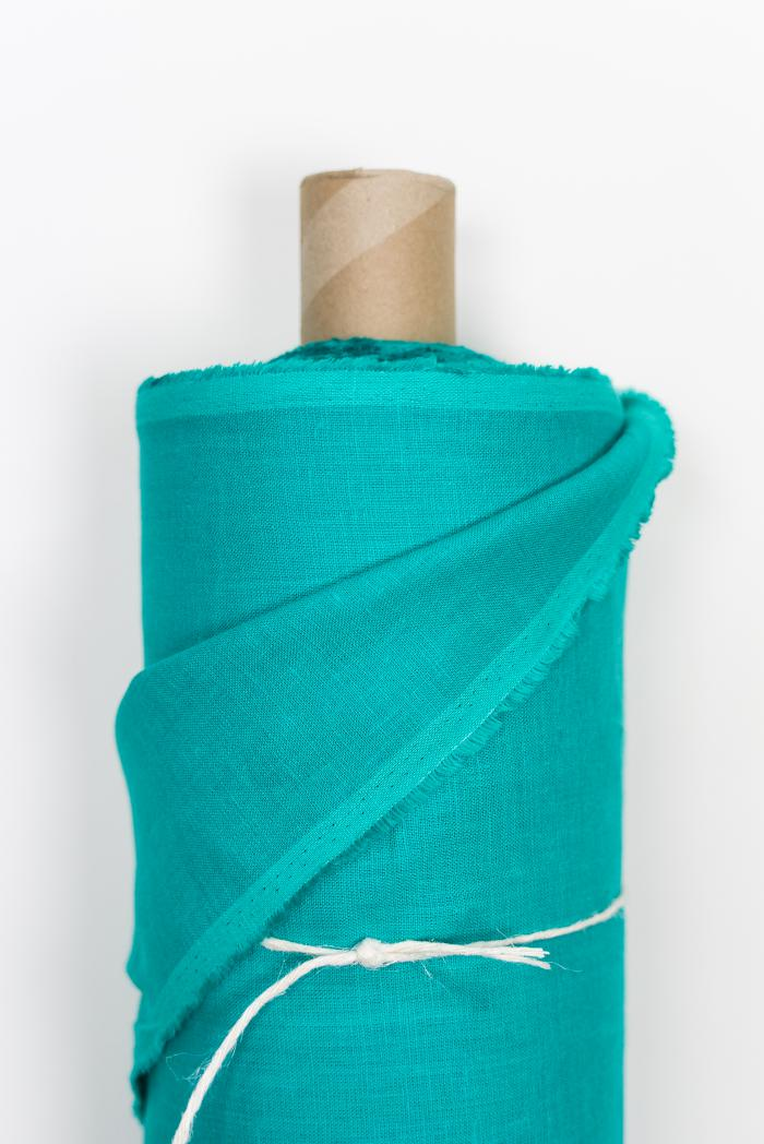 Ткань костюмная лен 100 морская лагуна фото 2>                   <span class=