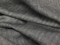Ткань костюмная лен 100 серая елочка фото 1
