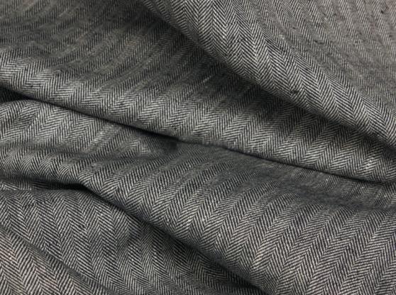 Ткань костюмная лен 100 серая елочка фото 1>                   <span class=