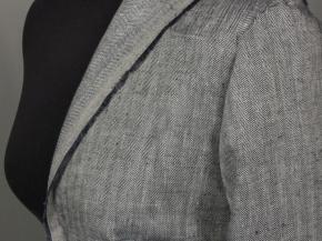 Ткань костюмная лен 100 серая елочка фото 2>                   <span class=