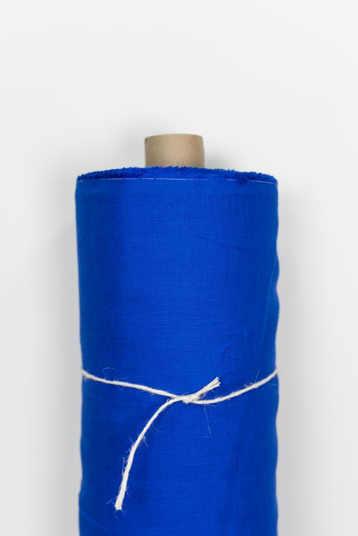 Ткань костюмная лен 100 васильковый цвет фото 1>                   <span class=