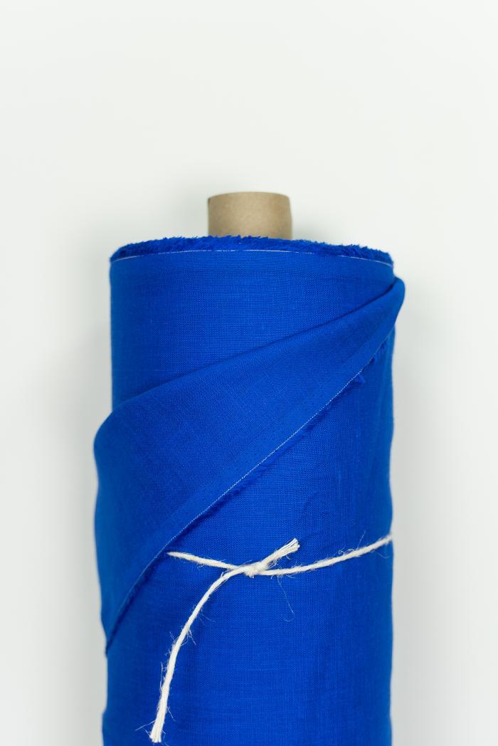 Ткань костюмная лен 100 васильковый цвет фото 2>                   <span class=