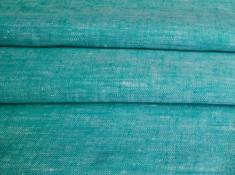 Ткань с эффектом мятости лен 100 бирюзовый меланж фото 1