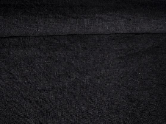 Ткань с эффектом мятости лен 100 черная ночь фото 1>                   <span class=