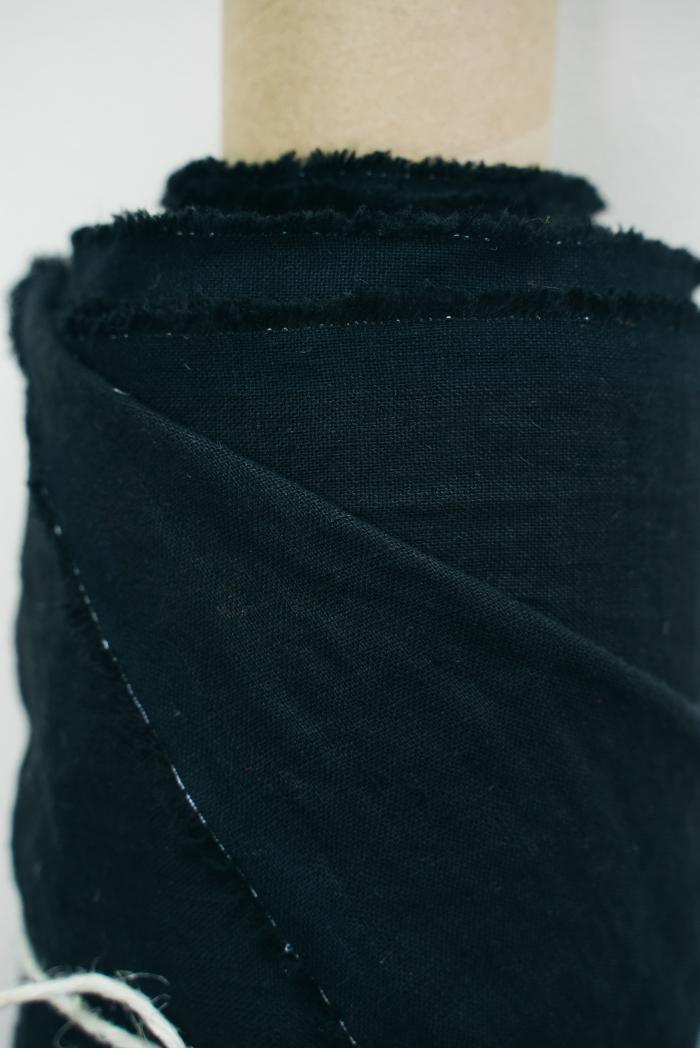Ткань с эффектом мятости лен 100 черный лебедь фото 2>                   <span class=