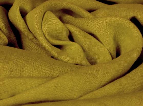 Ткань с эффектом мятости лен 100 медовая горчица фото 1>                   <span class=