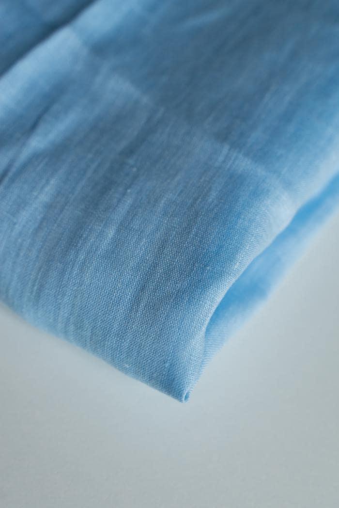 Ткань с эффектом мятости лен 100 небо фото 2>                   <span class=