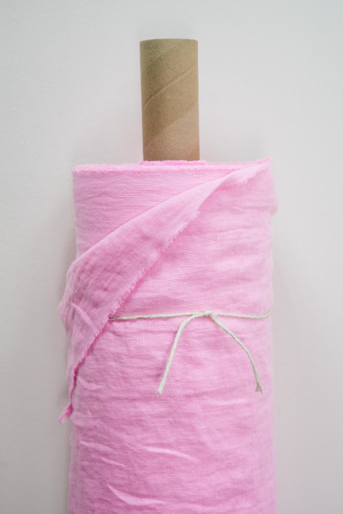 Ткань с эффектом мятости лен 100 розовый фламинго фото 1>                   <span class=