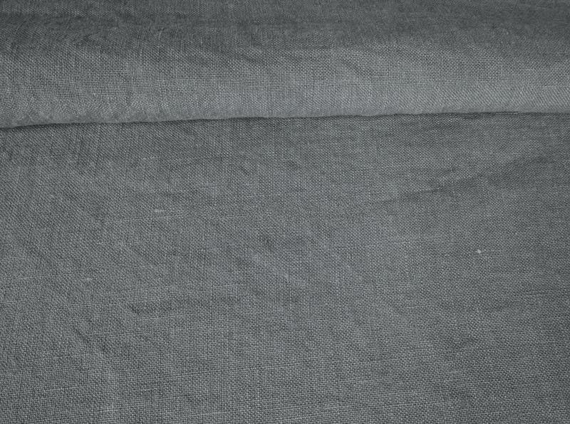 Ткань с эффектом мятости лен 100 серая галька фото 1>                   <span class=