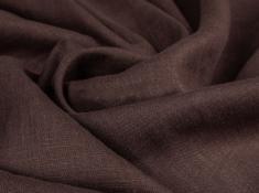 Ткань с эффектом мятости лен 100 шоколад фото 1