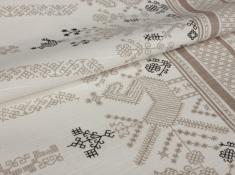 Ткань скатертная хлопок 100 коники серые фото 1