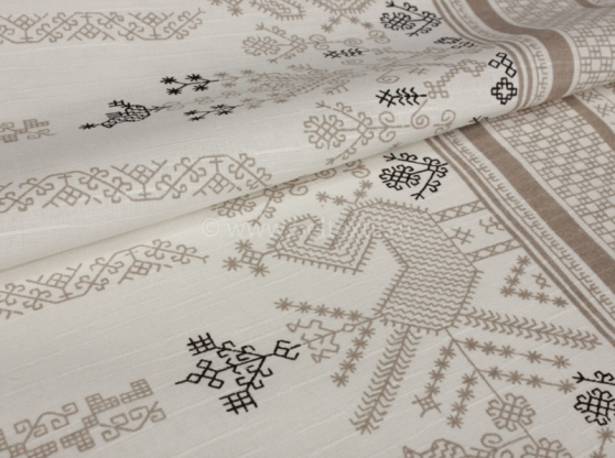 Ткань скатертная хлопок 100 коники серые фото 1>                   <span class=