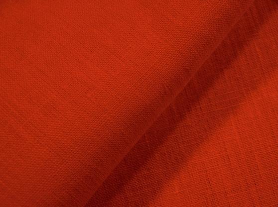 Ткань скатертная лен 100 оранжевая фото 1