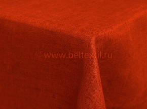 Ткань скатертная лен 100 оранжевая фото 2