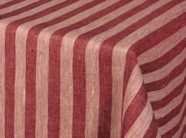 Ткань скатертная лен 100 полоска красная фото 1>                   <span class=