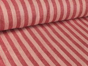 Ткань скатертная лен 100 полоска красная фото 3>                   <span class=