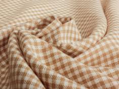 Ткань сорочечная п лен бежевая клетка фото 1