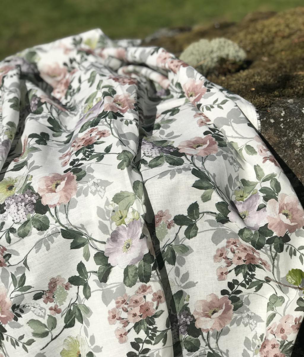 Ткань сорочечная п лен цветы фото 5>                   <span class=