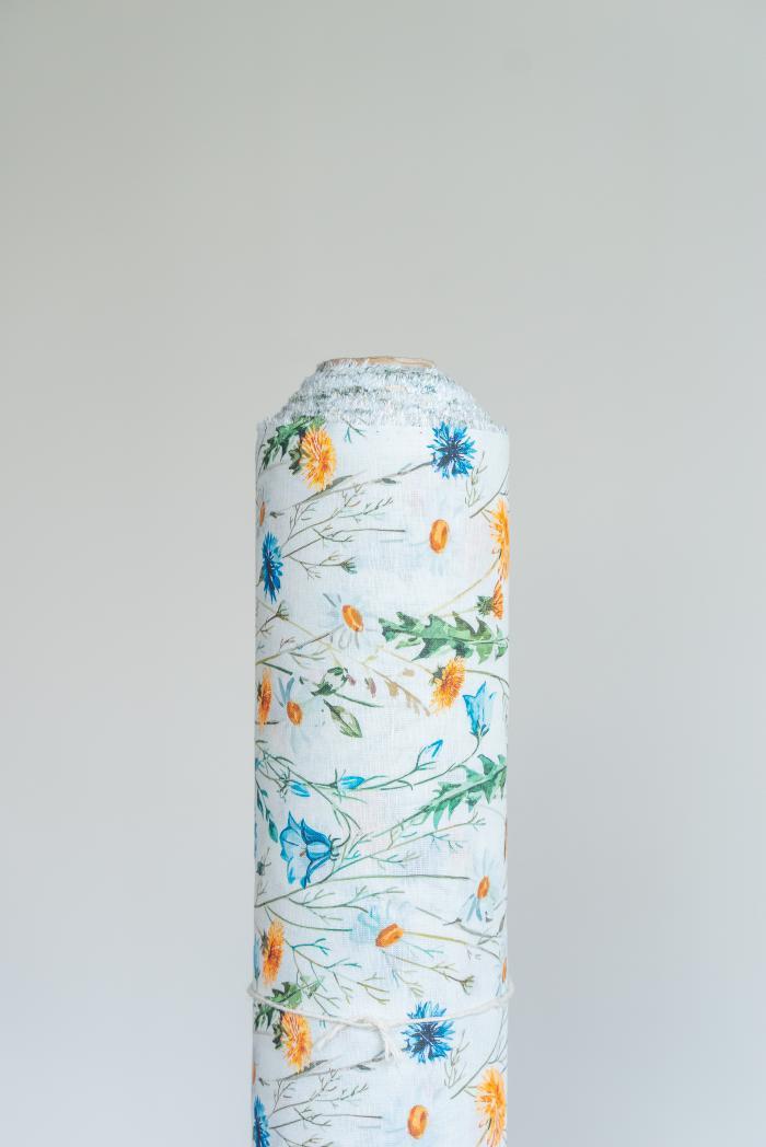 Ткань сорочечная п лен полевые цветы фото 1>                   <span class=